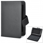 77-Key Silicone Bluetooth V3.0 Wireless Keyboard PU Leather Case w/ Stand for Google Nexus 7 - Black