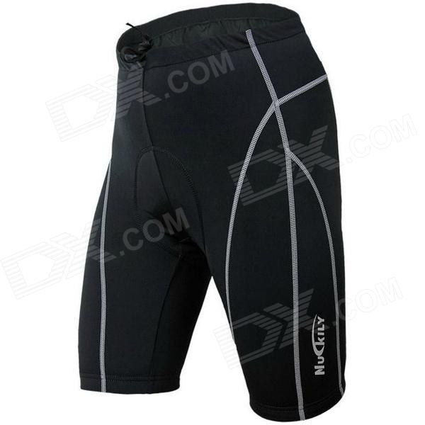 NUCKILY NK314 Outdoor Cycling Man's Quick Dry Nylon + Spandex Short Pants - Black (Size-L) universal nylon cell phone holster blue black size l