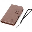 MLT Twill Pattern Protective PU Leather Flip-Open Case w/ Strap for Sony L36H - Brown