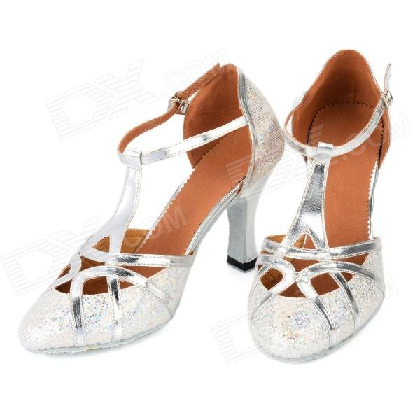 2041 Paillette Latin Dance PU High-Heeled Shoes for Women - Silver (Size-39 / Pair)