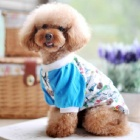 Cute Toy Poodle T-shirt Apparel - White + Blue (Size XL)