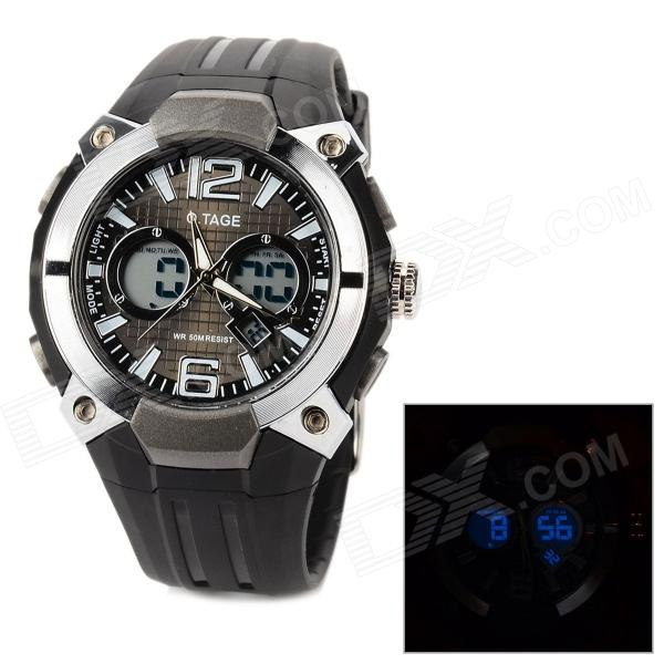 O.TAGE Casual Men's Analog + Digital Sports Quartz Wrist Watch - Silver + Black (1 x CR2025)