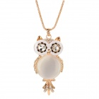 Decorative Zinc Alloy Opal Owl Necklace - Golden