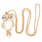 ZEA-MYL1 Decorative Zinc Alloy Opal Owl Necklace - Golden