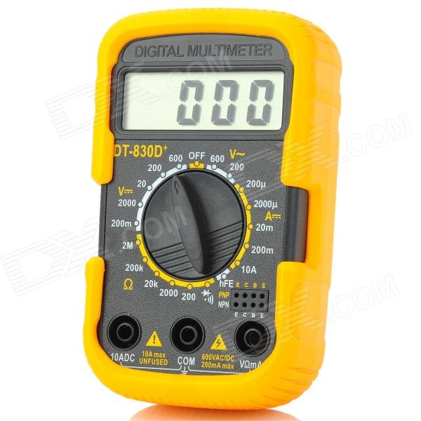 DT 830D+ Portable 2 LCD Digital Multimeter - Orange + Black (1 x 6F22) 2 1 lcd portable 3 mode digital illuminance light meter 100000lux 1lux 1 x 6f22
