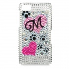 Love Heart Style Protective Acryl Diamond Back Case for BlackBerry Z10 - Multicolor