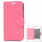 Grid Pattern Protective Artificial Leather + Plastic Flip-Open Case for Samsung i9500 - Deep Pink