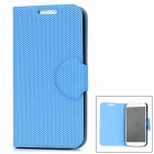 Grid Pattern Protective Artificial Leather + Plastic Flip-Open Case for Samsung i9500 - Blue + Black