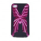 Butterfly Pattern Protective PC+TPU Back Case for Iphone 4S - Deep Pink + Black