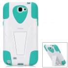iMAX S-074G Protective Silicone + Plastic Back Case for Samsung Note II - Green + White