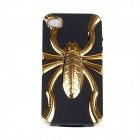Spider Pattern Protective PC+TPU Back Case for iPhone 4S - Black + Gold