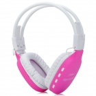 HP-365 Rechargeable MP3 Player Stereo Headphone w/ FM / TF Slot / Mini USB - Deep Pink + White