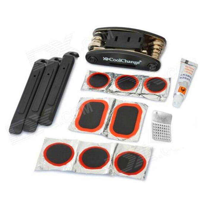 CoolChange 22047+21044 Bicycle Bike Tyre Repair Kit Set - Black