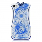 Creative Cheongsam Style Protective Plastic Case Cover for Iphone 4 / Iphone 4S - Blue + White