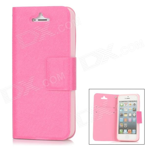 Stylish Protective PU Leather + TPU Plastic Case for Iphone 5 - Deep Pink silk style protective pu leather plastic case for iphone 4 4s deep pink