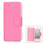 Stylish Protective PU Leather + TPU Plastic Case for Iphone 5 - Deep Pink