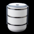 KING BOSS 304 Stainless Steel 3-Layer Combination Lunch Box - White