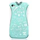 Creative Cheongsam Style Protective Plastic Case Cover for Iphone 4 / Iphone 4S - Green + White