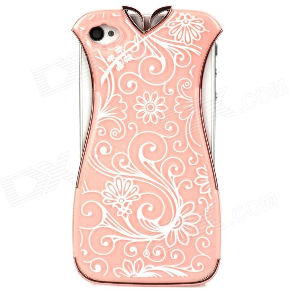 Creative Cheongsam Style Protective Plastic Case Cover for Iphone 4 / Iphone 4S - Pink + White