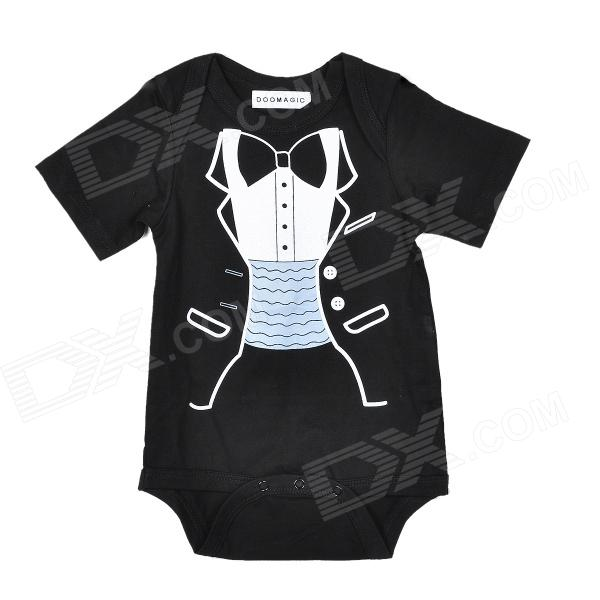 Doomagic Gentleman Cute Tuxedo Pattern Cotton Baby Rompers - Black + White + Blue