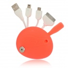 Mickey Mouse Head Style USB Male to 30-Pin / Micro USB / Mini USB Male Charging Data Cable - Orange