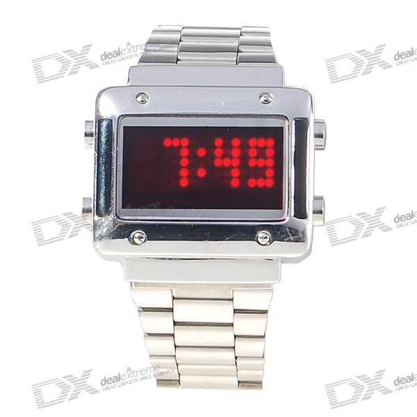 Red Light Dot-Matrix Stainless Steel Wristwatch with Weekday Display