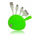 Mickey Mouse Head Style USB Male to 30-Pin / Micro USB / Mini USB Male Data Cable - Bright Green