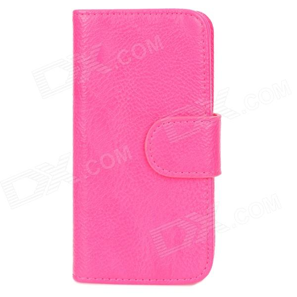 Stylish Protective PU Leather Case for Iphone 5 - Deep Pink stylish protective pu leather case for iphone 5 deep pink