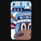 Lofter Cartoon Deer w/ Snow Cap Pattern Protective PC Back Case for Iphone 4S - White + Blue + Brown