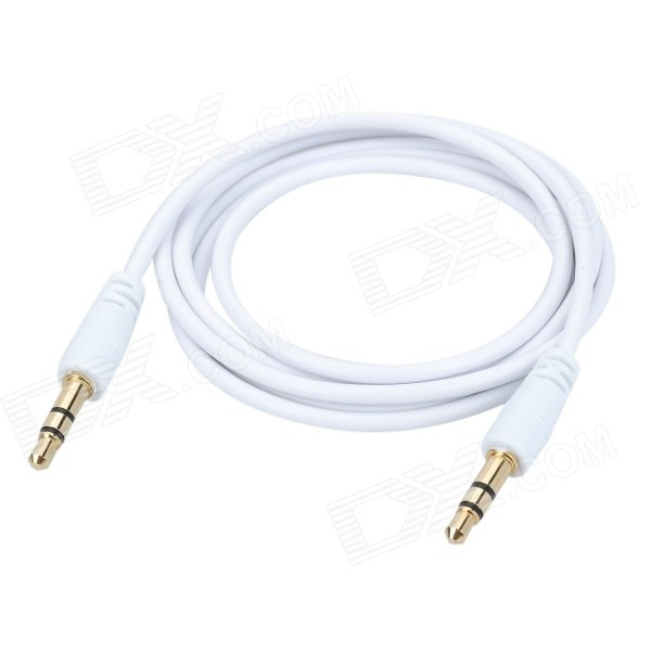 PVC 3.5mm Male to 3.5mm Male Audio Plug Car AUX Cable - White (125cm)