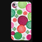 Lofter Flower Patterns Protective PC Back Cover Case for Iphone 4 / 4S - White + Red + Green
