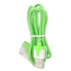 USB to iPhone 30-Pin Data/Charging Cable w/ Flashing Light for iPhone 4 / 4S / The New iPad - Green