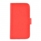 Protective Lichi Pattern PU Leather Case for Samsung S4 i9500 - Red