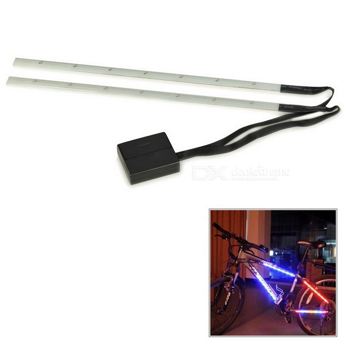 Bicycle Bike Decorative 3-Mode 14-LED Red Light Strip - Black + White (2 x AAA)