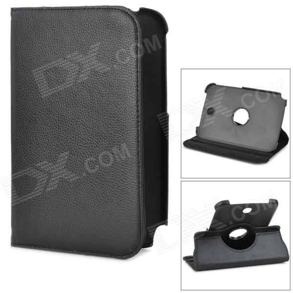 Lichee Pattern Rotatable Protective PU Leather Case for Samsung Galaxy Note / N5100 / N5110 - Black