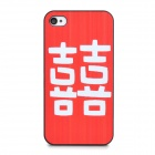 Chinese Character XI Pattern Protective Plastic Back Case for Iphone 4 / 4S - Red + White