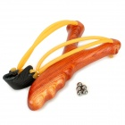 Outdoor Sports Rosewood Slingshot w/ 5 Steel Balls - Brown + Yellow + Black
