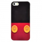 Button Style Protective Plastic Back Case for iPhone 5 - Black + Red