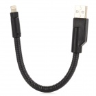 Bending Metal USB Male to 8-Pin Lightning Charging / Data Cable for iPhone 5 - Black (20cm)