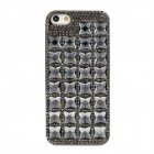 Fashionable Rhinestone Electroplating Plastic Back Case for Iphone 5 - Black