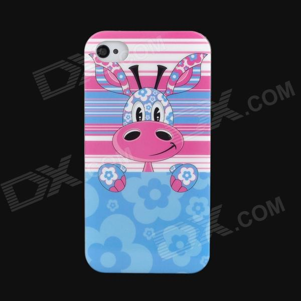 Lofter Cartoon Giraffe Pattern Protective PC Back Case for Iphone 4S - Blue + Pink janse football foot style 15w dual usb eu plug power charger car charger white