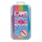 Lofter Cartoon Giraffe Pattern Protective PC Back Case for Iphone 4S - Blue + Pink