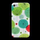 Lofter Dandelion Patterns Protective PC Back Case for iPhone 4S - White + Green + Blue
