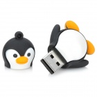 Cartoon Penguin estilo de borracha + liga de alumínio USB 2.0 Flash Drive - preto + branco (4GB)