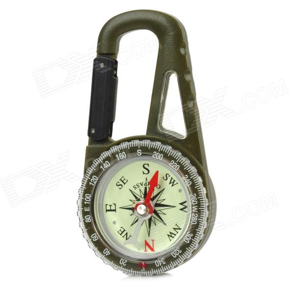 Outdoor Camping Mountaineering Carabiner Compass w/ Calendar - Army green