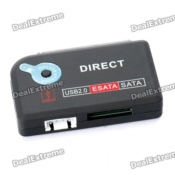 One-Touch Backup Mini 2-SATA to USB 2.0 + eSATA HDD Adapter