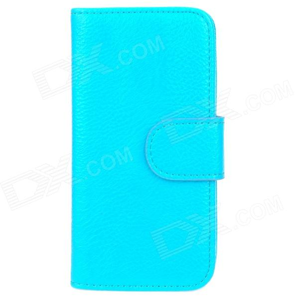 Stylish Protective PU Leather Case for Iphone 5 - Blue sldpj stylish ultra thin protective pu leather case cover w visual window for iphone 4 4s red