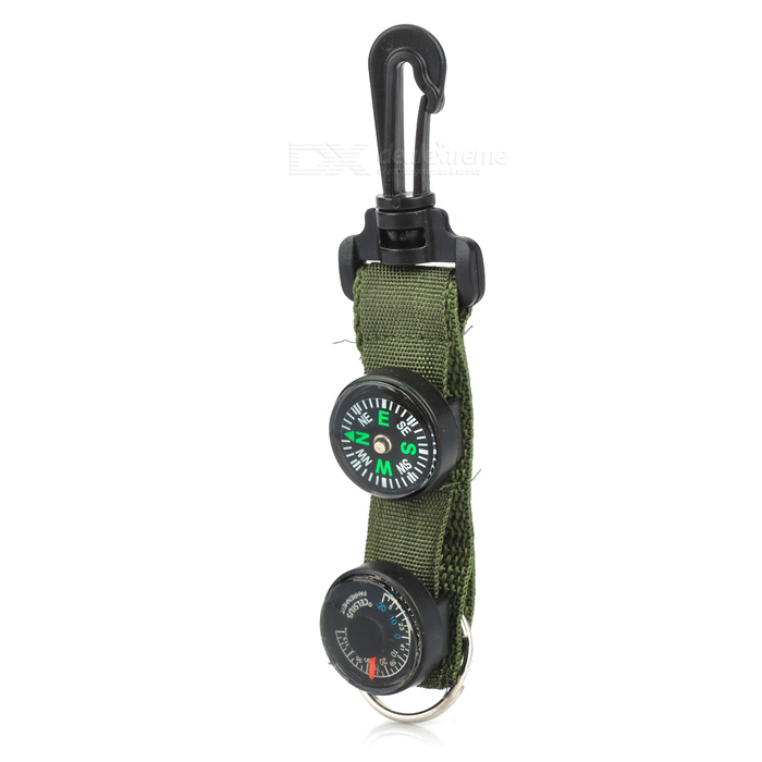 Outdoor Camping Compass + Thermometer w/ Buckle / Keychain - Army Green + Black cnbtr 5v 100ppr 6 terminal eletronic hand wheel pulse encoder for cnc system