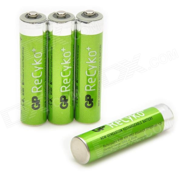 GP Replacement 1.2V 820mAh Rechargeable NiMH AAA Battery w/ Case - Green (4 PCS) 8pcs pkcell battery aaa pre charged nimh 1 2v 1200mah ni mh 3a rechargeable batteries up to 1000mah capacity cycle 1200times