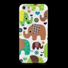 Cute Cartoon Elephant Protective PC Back Case for iPhone 5 - White + Green + Brown